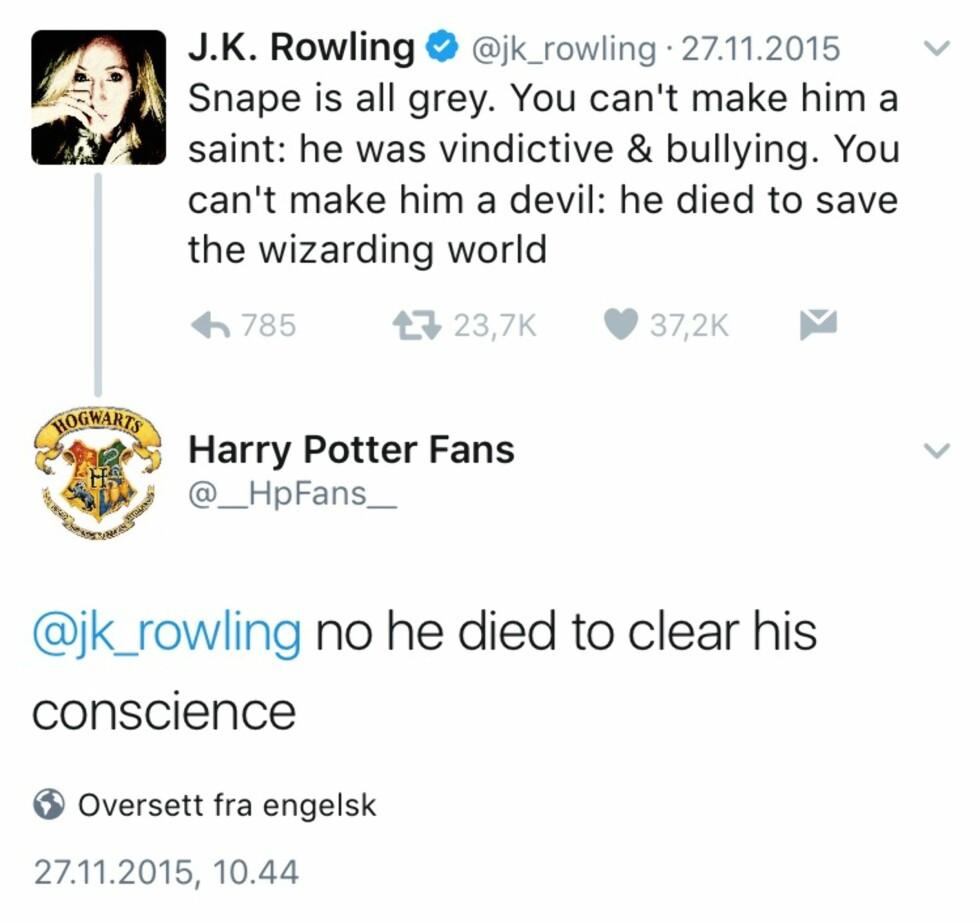 """FLAUSE: Twitterbrukeren """"Harry Potter Fans"""" tror visst at han kjenner karakterene bedre enn forfatteren selv. Foto: Foto: Skjermdump, Twitter.com"""