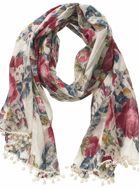 Blomstrete sjal med dusker (kr 100, Kappahl).