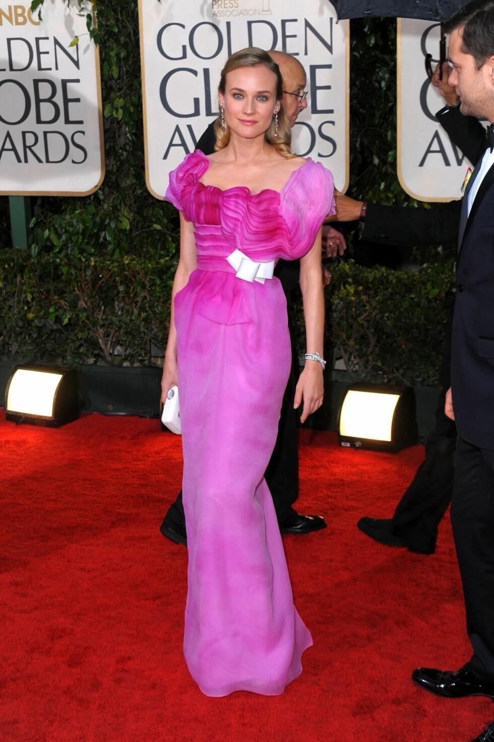 Diane hadde en av de nydeligste kjolene på Golden Globe i år. Smal silhuett, smakfulle rysjer og delikate fargeoverganger gjorde denne kjolen til en vinner. Foto: All Over Press