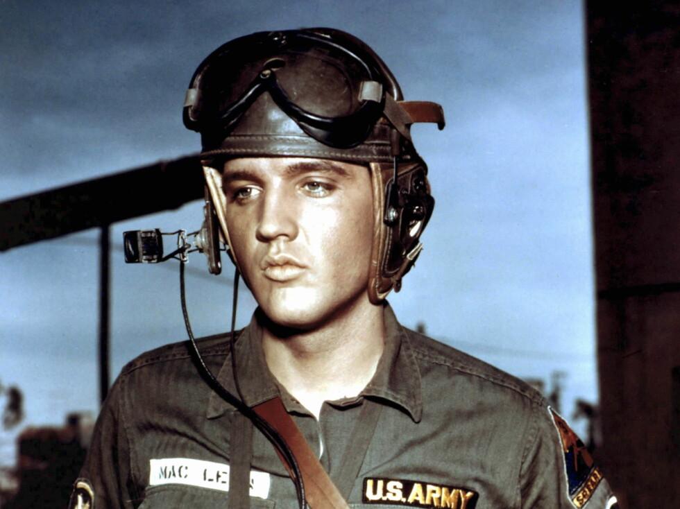 Elvis dro i militæret i 1958, og tjenestegjorde blant annet i Tyskland. Han kom tilbake til USA i 1960. Her fra filmen G.I. Blues. Foto: All Over Press