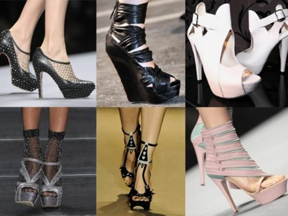<strong>VAKLEVORENT:</strong> Ingen hippie-sandaler her nei! Våren 2010 skal du fortsatt vakle rundt på skyhøye plattåsko, om designerne under Paris Fashion Week får det som de vil. Se flere vårsko i bildeserien nederst i saken.