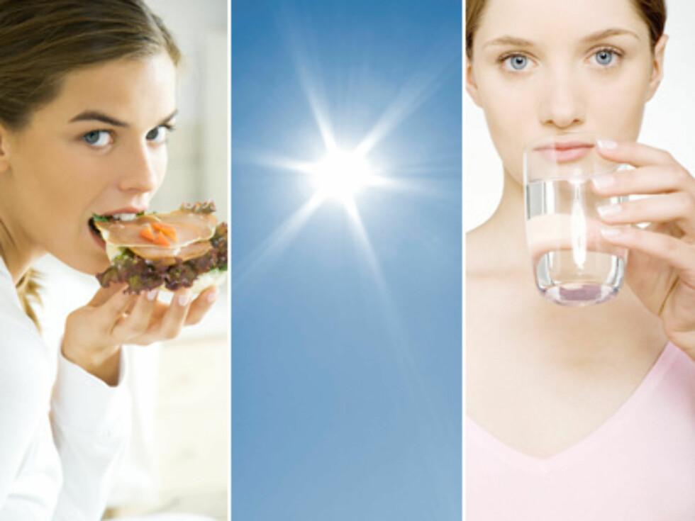 ENKLE RÅD: Mellommåltider, utendørstid i sola og unngå dehydrering kan bedre forbrenningen. Foto: Montasje Colourbox
