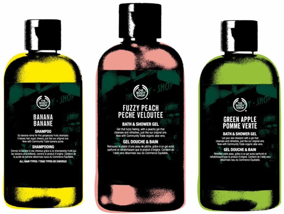 Både Banana Shampoo (kr 79), Fuzzy Peach Bath & Shower Gel (kr 69) og Green Apple Bath & Shower Gel er tilbake på markedet.