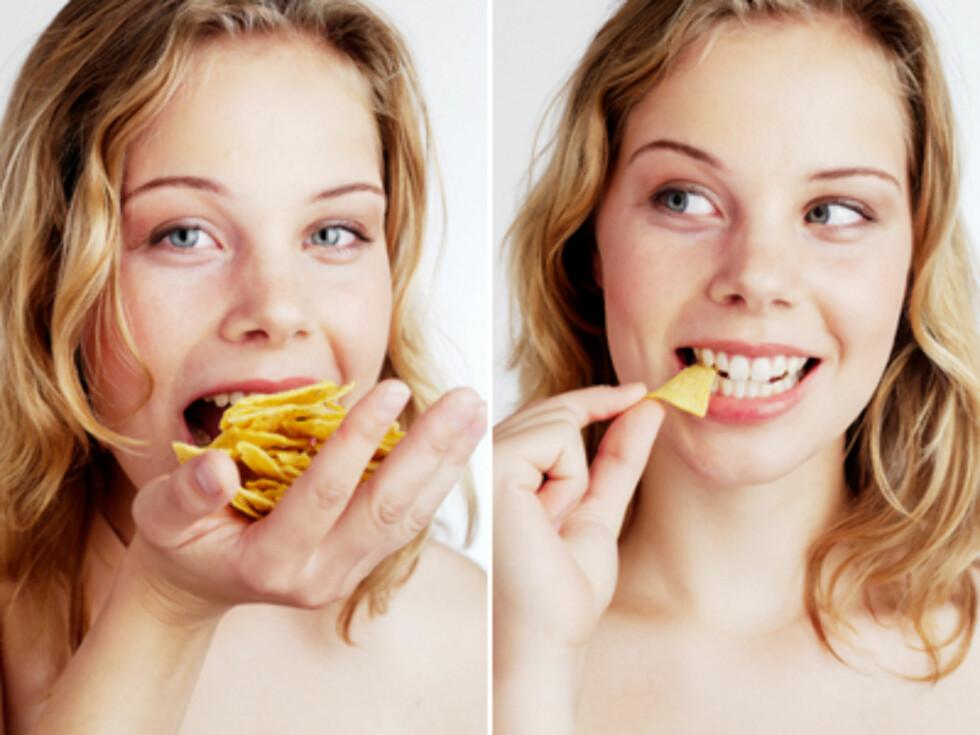 MER ELLER MINDRE: Vekta til personen du spiser sammen med påvirker hvor mye du spiser selv, ifølge forskerne. Foto: Colourbox.com