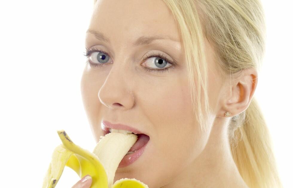 Banan er bare 1 av 17 forskjellige matvarer som anbefales i forbindelse med trening.  Foto: All Over Press