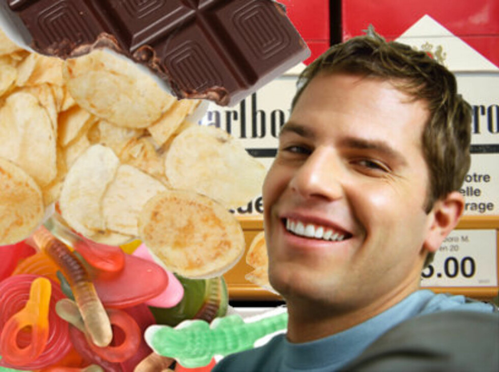 <strong>FRISTELSER:</strong> Sukker, fett, nikotin og ekskjærester. Vi er visst ikke så flinke til å motstå fristelser som vi tror, ifølge ny studie. Foto: Montasje: Colourbox.com