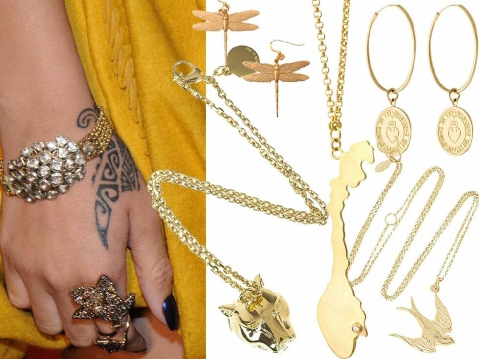 GÅ FOR GULL: Gjør som popstjerne og stilikon Rihanna - vekk oppsikt i lekre gylne smykker. Se informasjon om smykkene lenger ned i saken. Foto: All Over Press/Produsenter