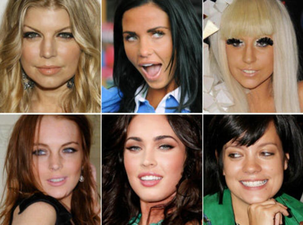 FÅR OPPMERKSOMHET: Øverst (f.v.): Fergie, Katie Price og Lady GaGa. Nederst (f.v.): Lindsay Lohan, Megan Fox og Lily Allen. Se flere i bildeviseren. Foto: All Over Press