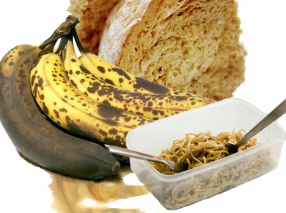 <strong>FREMDELES BRUKENDE:</strong> Gammelt brød, brune bananer og rester kan bli god som ny med de rette triksene. Foto: Montasje: Colourbox.com