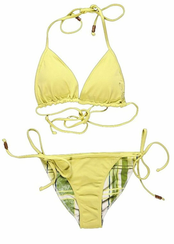 <strong>SPORTY:</strong> Gulgrønn bikini med perlepynt (kr 350 per del/Oakley).