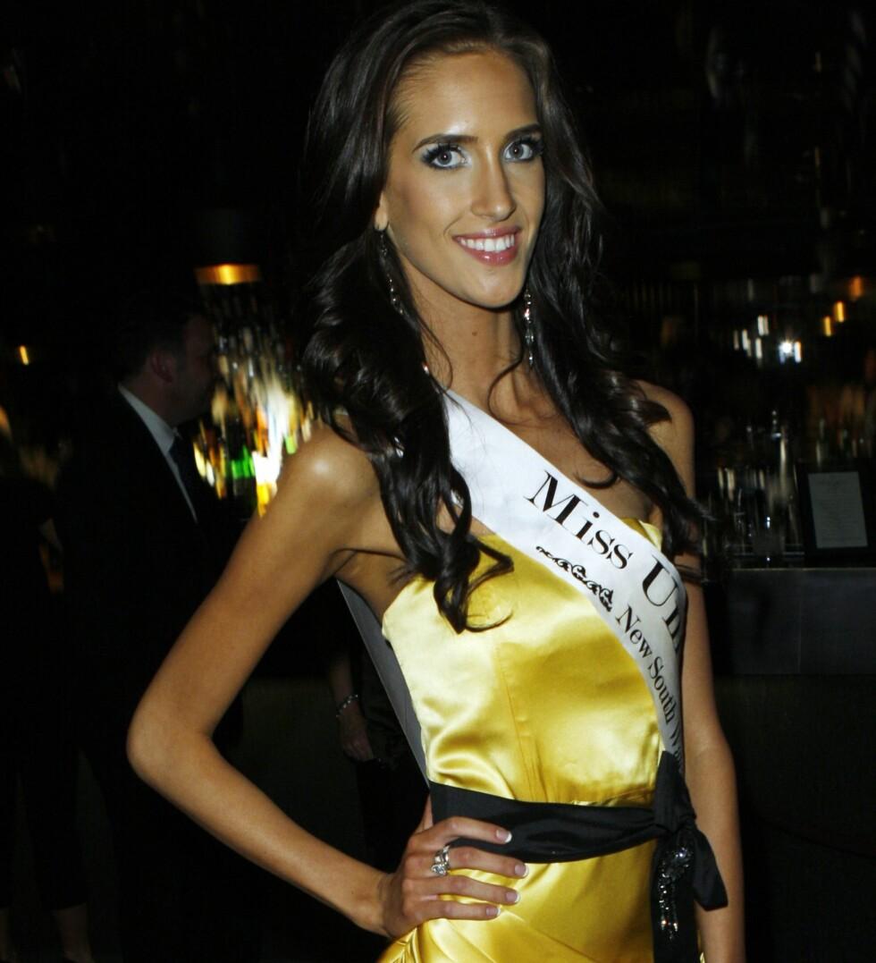 Til tross for sin opplagt radmagre figur kom Stephanie Naumoska til finalen i Miss Universe Australia. Foto: All Over Press