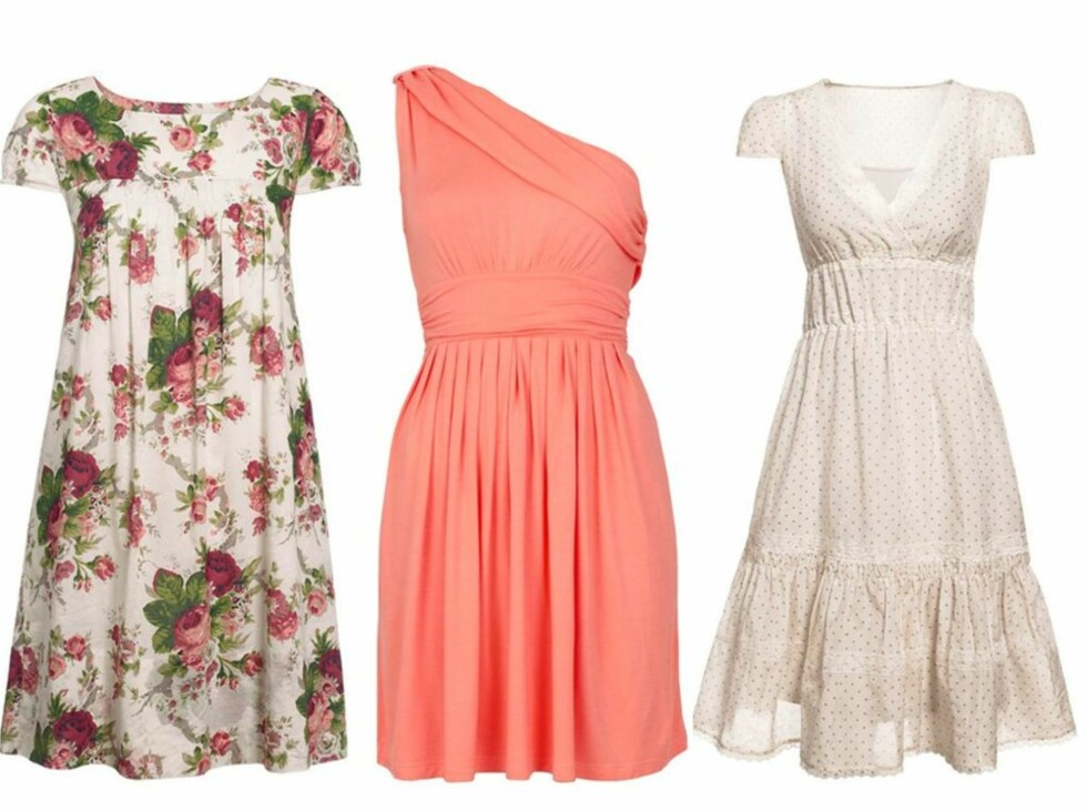 Blomsterpike, assymetrisk eller romantisk? Finn en kjole du liker på bildene lenger ned i artikkelen. Foto: Produsenter