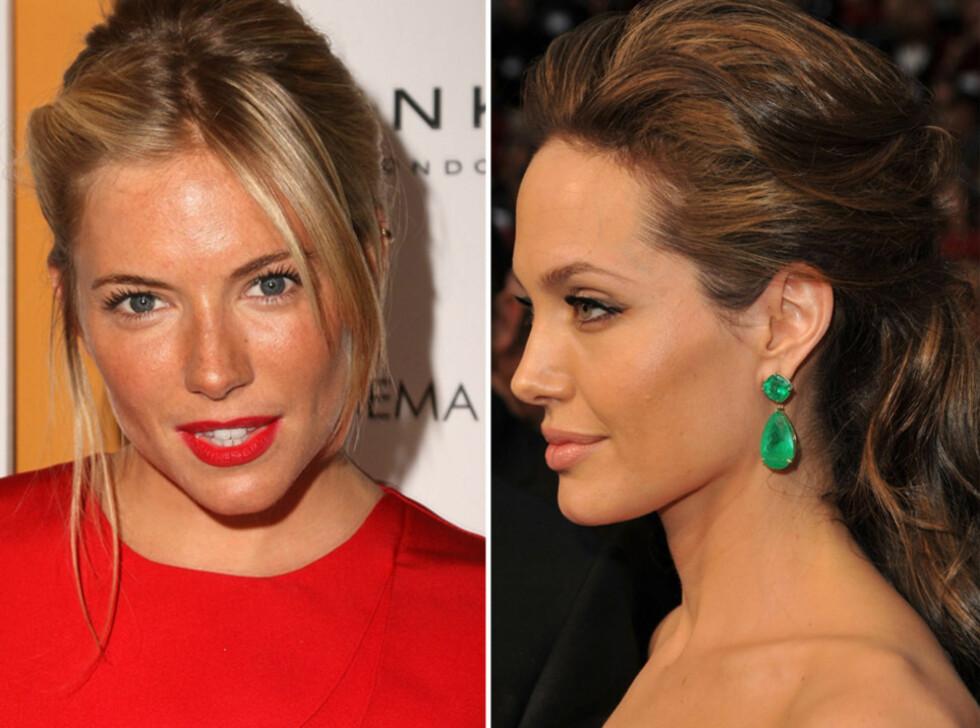 Sienna Miller (t.v.) og Angelina Jolie setter opp håret uformelt uten å bruke strikk.