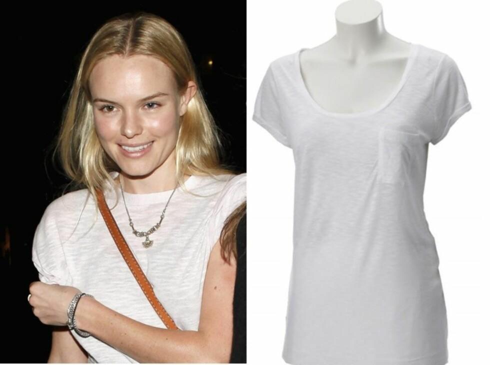 PERFEKT FOR HVERDAGER: Kate Bosworth bruker den enkle, ensfargete t-skjorten til skinnveske,halskjede, armbånd og utslått hår.