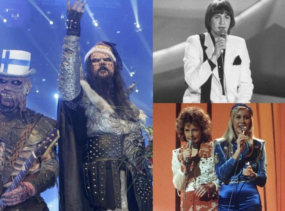 <strong>TROFAST UNDERHOLDNING I ALLE ÅR:</strong> Fra venstre de finske Lordi-monstrene, den irske fløtepusen Johnny Logan, som vant med låta «What's Another Year?» i 1980, og Abba, vinnerne i 1975 med legendarsike «Waterloo».  Foto: All Over Press