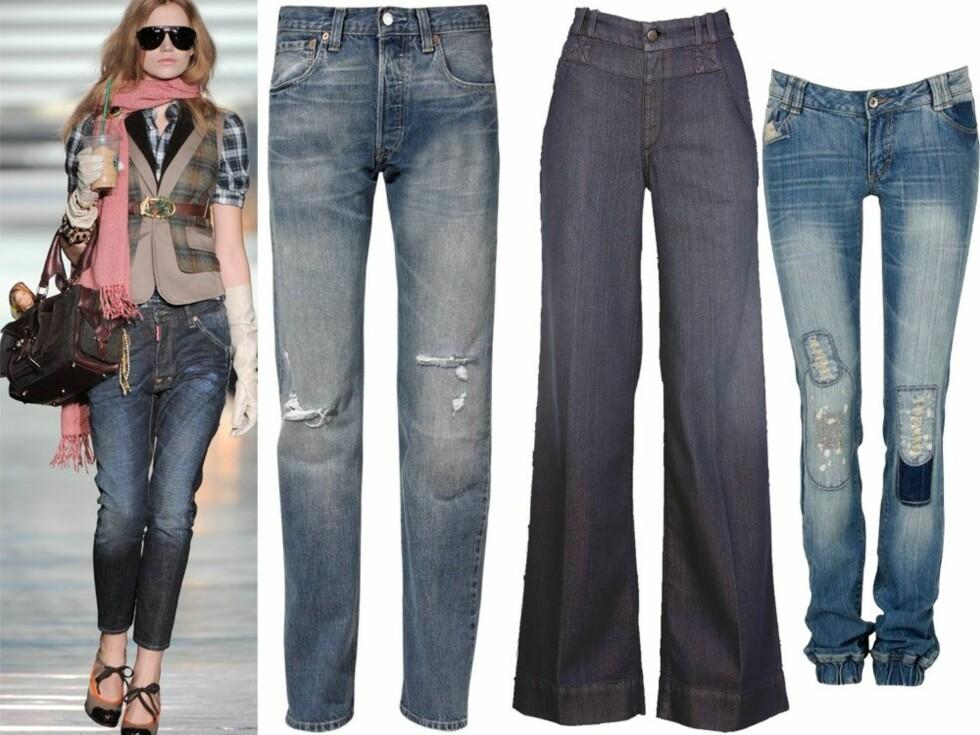 Dsquared kjører slitte mørkeblå jeans til litt over ankelen denne sesongen. Se informasjon om de øvrige buksene lenger ned i artikkelen.