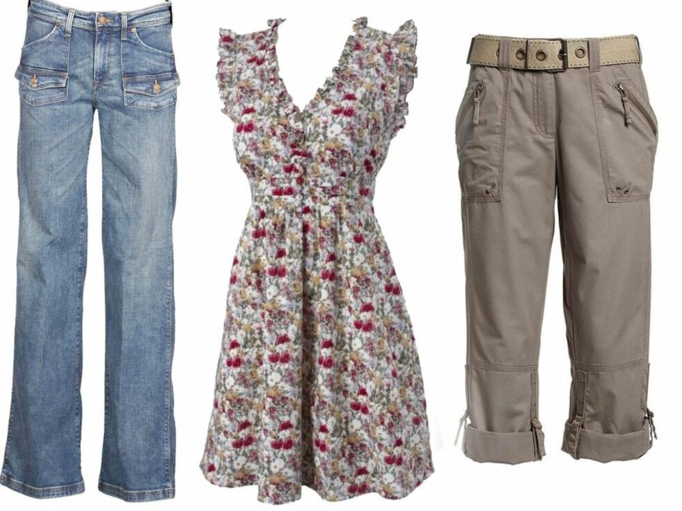 KUN ET TASTETRYKK UNNA: Vårgarderoben shopper du fra sofakroken. Fra venstre lyse slitte jeans (kr 300, H&M), blomstrete romantisk kjole med høyt liv (kr 300, Gina Tricot) og bukser i safarstil (kr 400, Ellos).