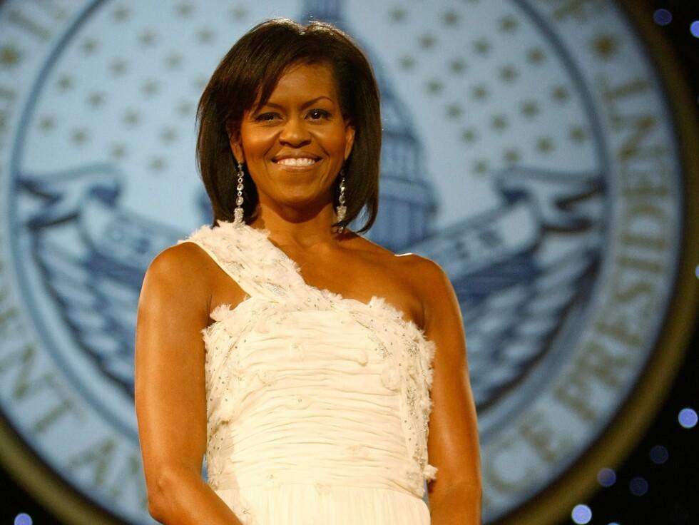 Den lekre ballkjolen Michelle Obama bar på ballet er designet av Jason Wu.  Foto: All Over Press