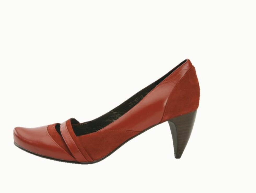 FINE JOBBSKO: Søt sko i semsket og vanlig skinn med tøff hæl (kr 500, B & Co). Foto: Wenche Hoel-Knai