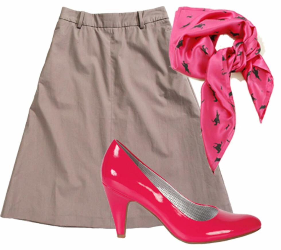 Knallrosa detaljerTil et nøytralt skjørt er det kult med matchende detaljer i en kontrasterende farge. Til fest er rosa et sikkert trendvalg.  Sjalet er fra By Malene Birger (kr 500), de søte lakkpumpsa (kr 400, DNA).