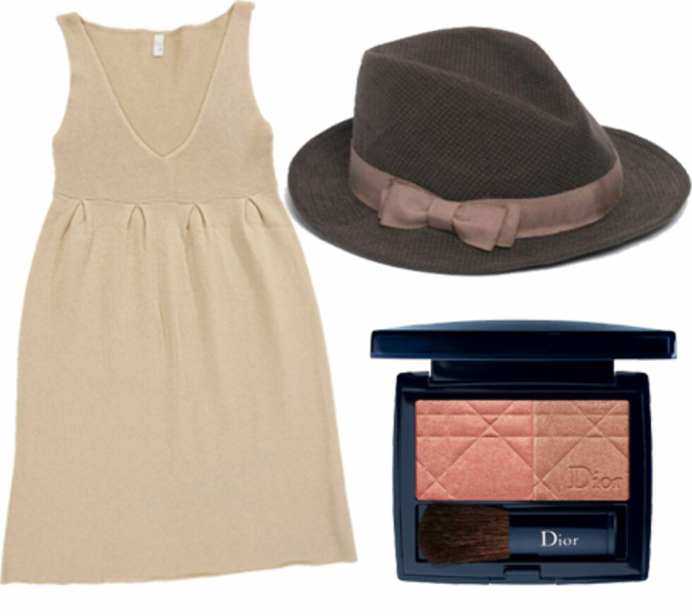Kvinne for sin hattIkke la herrene få ha hatten i fred når du skal ut. Den tandre ullkjolen (kr 2000, Llup) kan fint dresses opp med en  supertrendy hatt (kr 260, Accessorize). Roser i kinnene er lekkert på høstblek hud. Denne heter Diorblush og har to nyanser (kr 330, Dior).