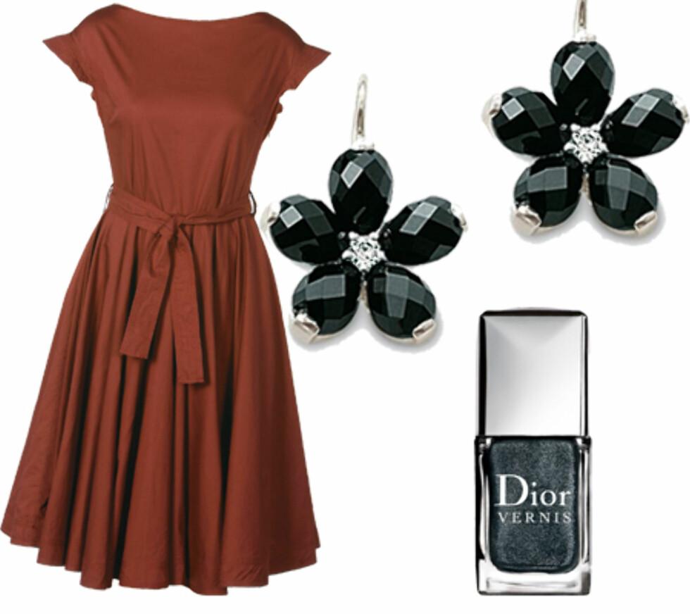 Svart neglelakkTil den ultrafeminine 50-tallskjolen (kr 1950, Fin) er det en rå og sofistikert kontrast med svart neglelakk og svarte smykker. Dior Vernis er en lekker, sort og slitesterk negleakk neglelakk som holder festen igjennom, og litt til (kr 185, Dior).