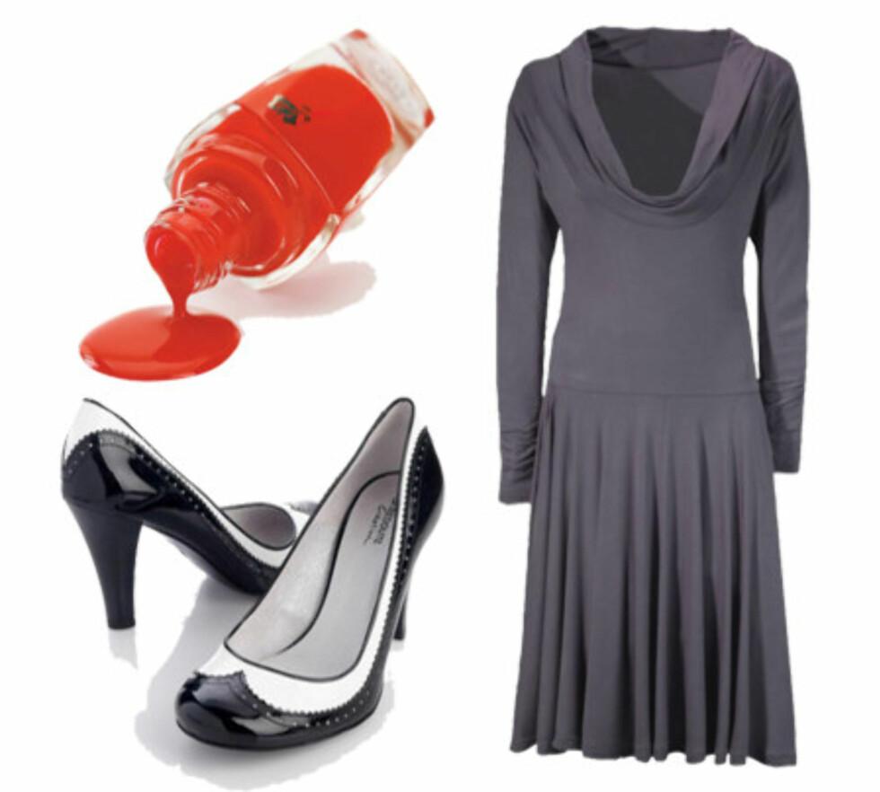 Fram med rockefotenDen lilla kjolen med drapert hals (kr 700, Josefsson) er litt nøytral og anonym til festbruk, men kan fint rockes opp med svarte og hvite pumps (kr 649, La Reoute) og knallrød neglelakk (kr 195, Lancôme).