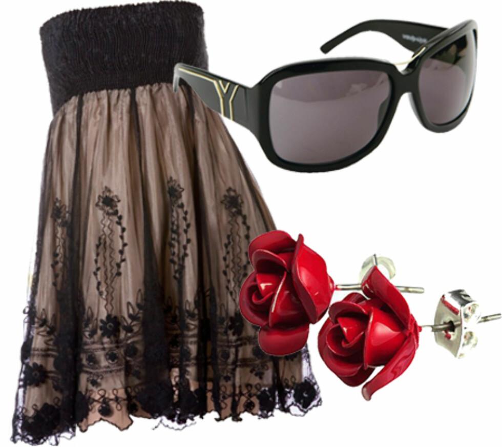 Bli en drama queenSolbrillesesongen er ikke helt over ennå. Disse kan fint brukes sammen med festkjolen (kr 2100, YSL). Til den stroppeløse kjolen  (kr 400, Indiska) og de røde roseøredobbene (kr 30, H&M) gir de deg attitude herfra til evigheten.