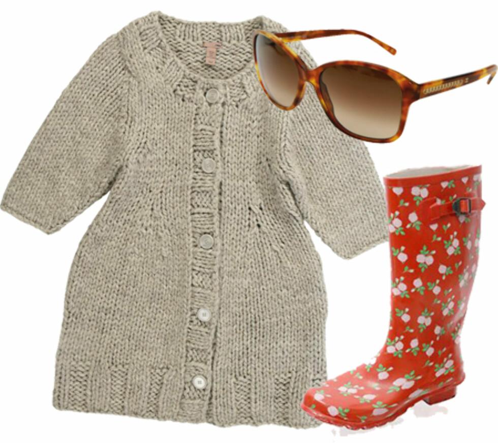 <strong>STIL:</strong> Fin og avslappetDette er alt du trenger for søndagsturene denne høsten: En heit cardigan (kr 800, Bruuns Bazaar), kule solbriller (kr 2200,Chanel), og blomstrete støvler (kr 200, Asos).