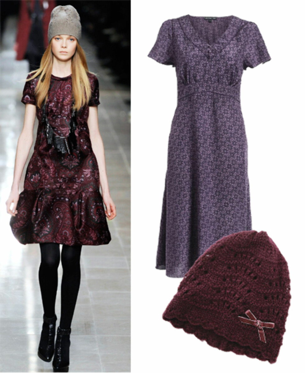 Lekker i lillaLilla er en av høstens store trendfarger, men en farge mange synes er vanskelig å bruke. Vårt tips er å matche lilla med brunt, svart eller grått - ikke med knallfarger, så unngår du den litt elleville sosionom-effekten. Heklet lue med liten sløyfe i fløyel (kr 50, Indiska) og supersøt kjole (kr 299, Ellos).