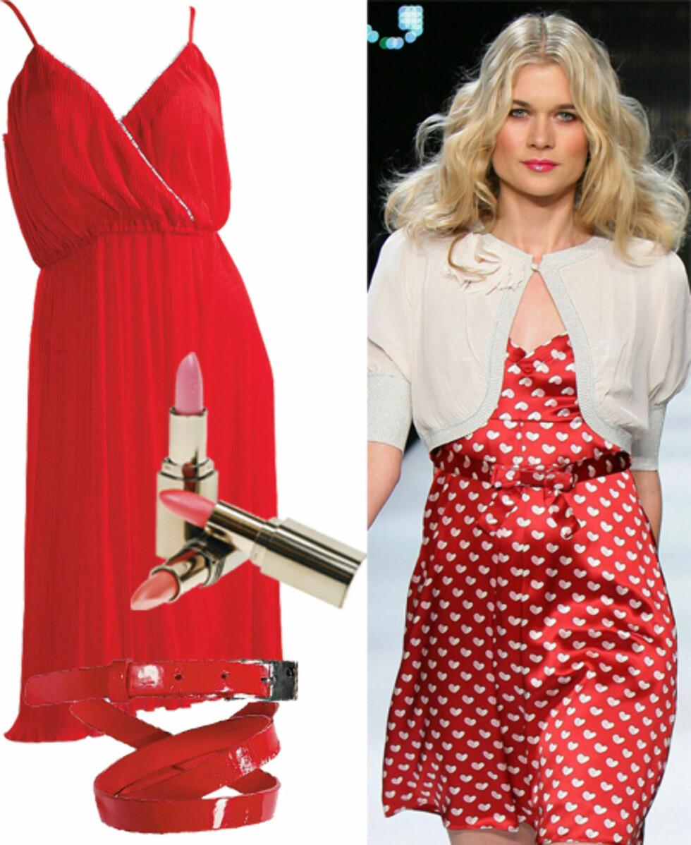 Unngå å bli veggprydKvinner i rødt får alltid danse, heter det. Vil du unngå å gå i ett med tapeten i høst, finner du fram den rødeste kjolen du har. Denne er en original 70-talls-cocktailkjole fra Radley (kr 600, Fretex). Wanted leppestifter fra Helena Rubinstein kommer i ulike lyse rosanyanser. Du finner garantert en som passer for deg (kr 250). Det brede beltet er perfekt både til kjoler og jeans (kr 250, Cubus).
