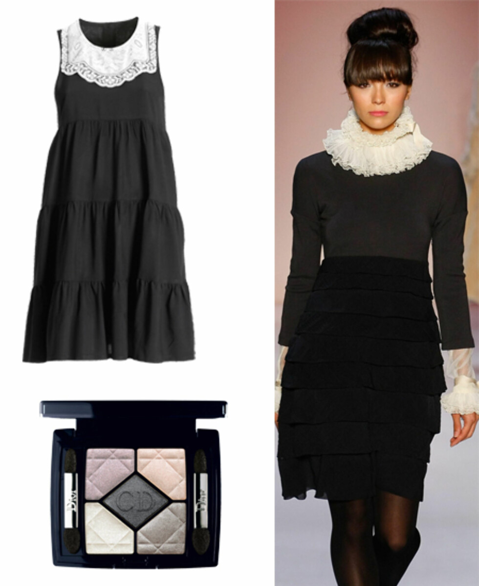 BarokkDen dramatiske stilen med rysjer og blonder er et sikkert motevalg. Denne kjolen er fra H&M (kr 250). Øyeskyggepaletten 5-Coleurs har en kullsort skygge i midten, som er omgitt av lekre rosa- og beigefarger. Det gjør den perfekt for å legge et sotet øyesminke med en twist (kr 435, Dior).