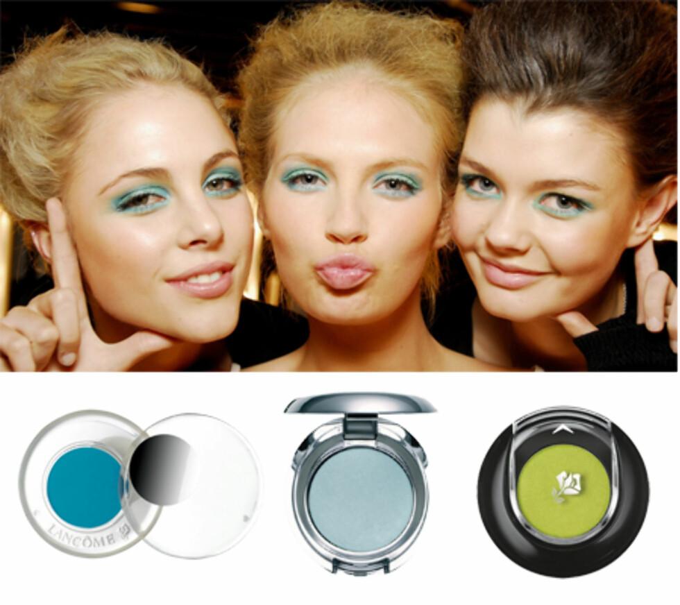 Blått blikkUlike nyanser av blått, turkis og grønt er blant høstens mest trendy farger til øynene. Superlekkert til grønne, blå og brune øyne. Den skimrende lyseblå øyeskyggen kler de aller fleste (kr 110, The Body Shop).  Syrlig grønn øyeskygge kan brukes som den er, eller blandes med andre farger. (kr 155, Lancôme). Den knallturkise fargen er noe av det mest trendy du kan velge i høst (kr 315, Lancôme).