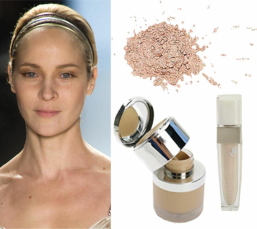 Velg lyse nyanserBlek hud er nydelig, og en nødvendighet for å se bra ut med denne makeupstilen. Så solpudder og rouge er bannlyst her! Foundation, concealer og speil i ett. Det praktiske (og stivprisede) skrinet fra La Prairie gir alt fra lett ujevning til heldekkende resultat (kr 1275). Med L'Oréal True Match Mineral Foundation blir ikke underlaget for kompakt (kr 170). Gi glans til leppene med L.U.C.I. Color Fever Gloss (kr 205, Lancôme).