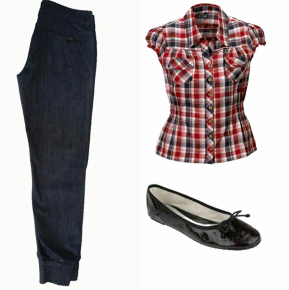 <strong>KUL ROCKESTIL:</strong> Trendy jeans med posete ben med brede vrangborder nederst (kr 200, Only), rutete skjorte i 50-talls rock'n'roll-stil (kr 150, Ellos) og kule ballerinasko i skinn (kr 900, Debbie/Lille Vinkel Sko).