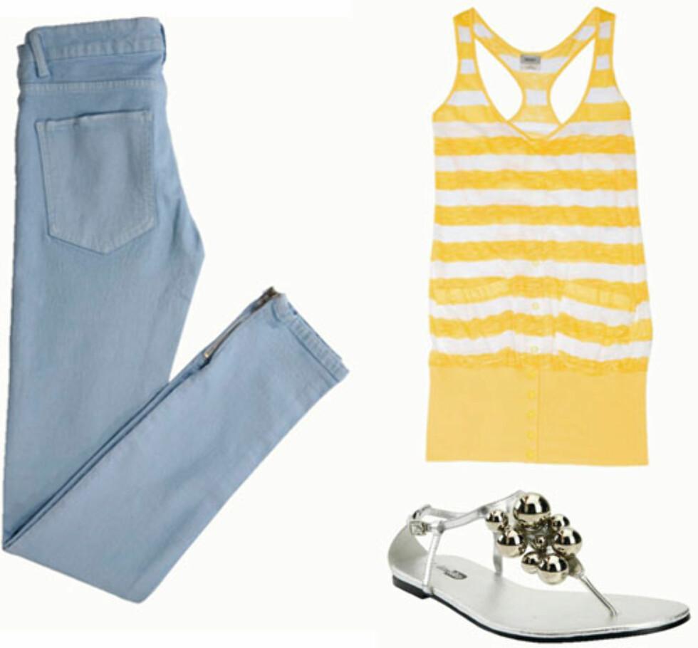 <strong>FRAMHEVER BRUNFARGEN:</strong> Lyseblå smal jeans med glidelås nede i beina (kr 400, Dr. Denim), luftig singlet i hvitt og gult (kr 800, WeSC) og plastsandaler med kuler på (kr 250, Din Sko).