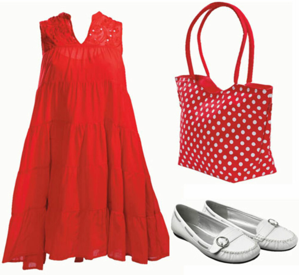 <strong>SØT SOM JORDBÆR:</strong> Ensfarget A-formet kjole med kapper (kr 300, Indiska), prikkete veske i bomull (kr 190, La Senza) og små hvite mokasiner (kr 230, KappAhl).