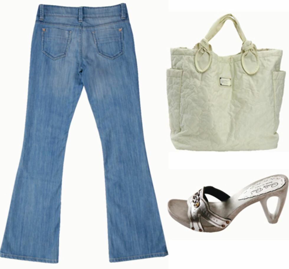 <strong>PASSER TIL ALT:</strong> Jeans som er fin til feminine former (kr 300, Cubus), sølvfargede sandaler med figurativ, trendy hæl (kr 830, Carlo Pera) og rynkete bomullsveske (kr 1700, Marc by Marc Jacobs).