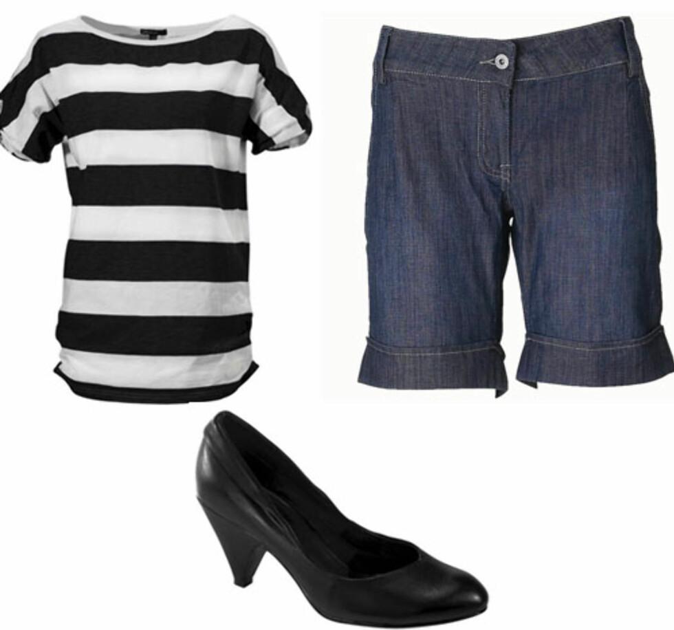 <strong>MARITIM ROCK'N ROLL:</strong> Stripete bomullstopp (kr 60, Ellos), shorts som kan brettes opp (kr 350, B-Young) og svarte pumps (kr 180, Ellos).