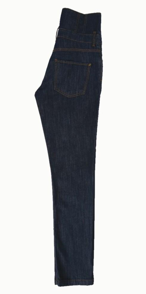 Dongeribukse med ekstra høyt liv og rette bein (kr 400, Lindex).