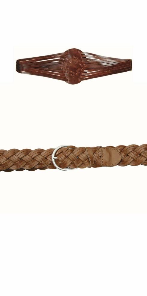 Skinnbelte med folkloredetaljer og flettet belte man kan justere så stramt man vil ha det (kr 250, begge fra Accessorize).