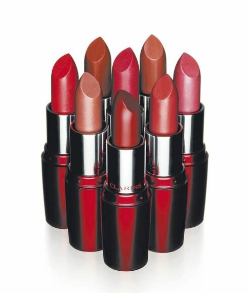 Clarins har lansert en helt ny serie leppestifter, Rouge Appeal, som har en lett geleaktig konsistens som skal gi leppene super pleie. Kommer i åtte ulike nyanser (kr 185).
