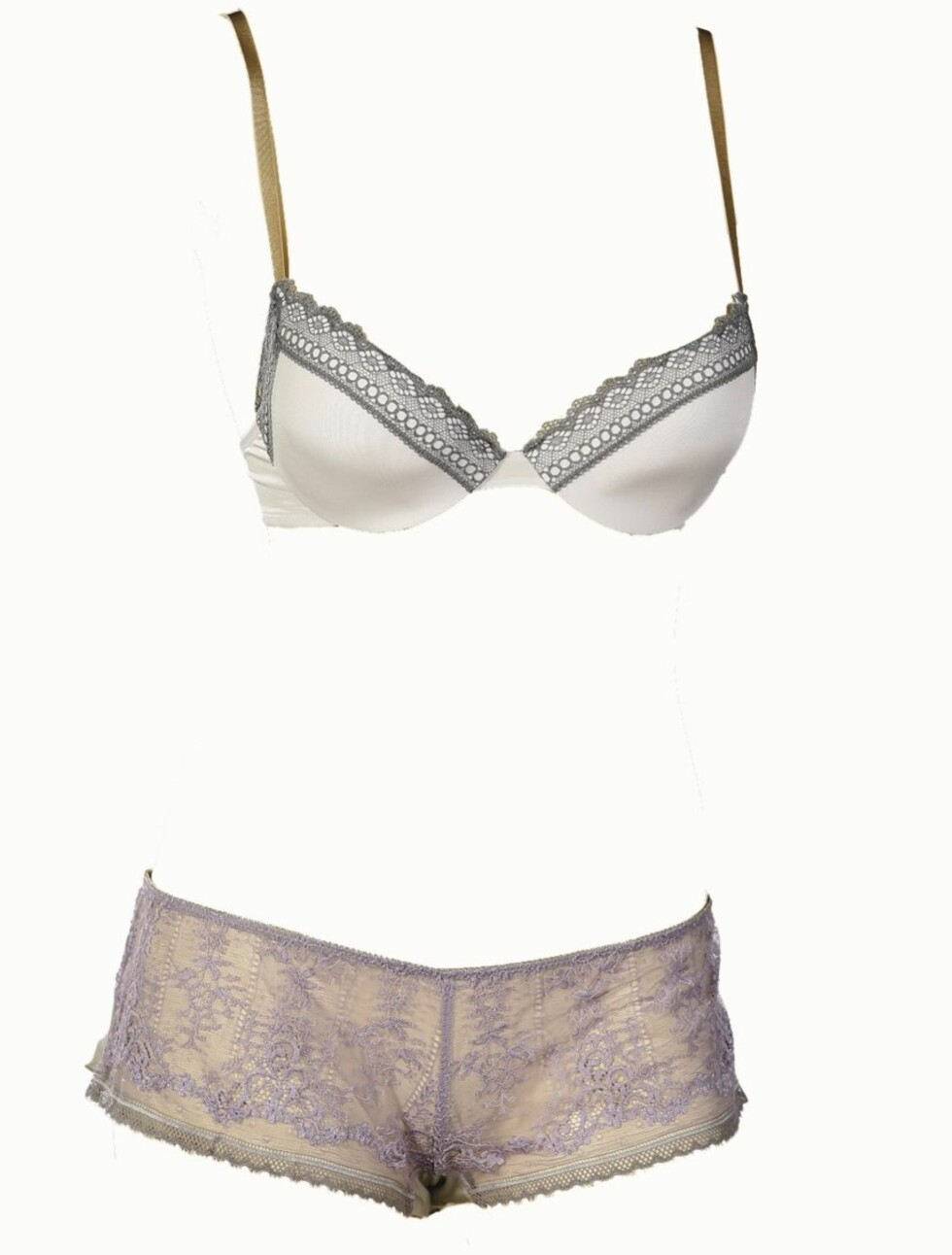 SEXY MIKS: Hvit og grå bh (kr 500, Calvin Klein) og lilla og grå truse (kr 450, Princesse Tam Tam/Lingerie Lounge).