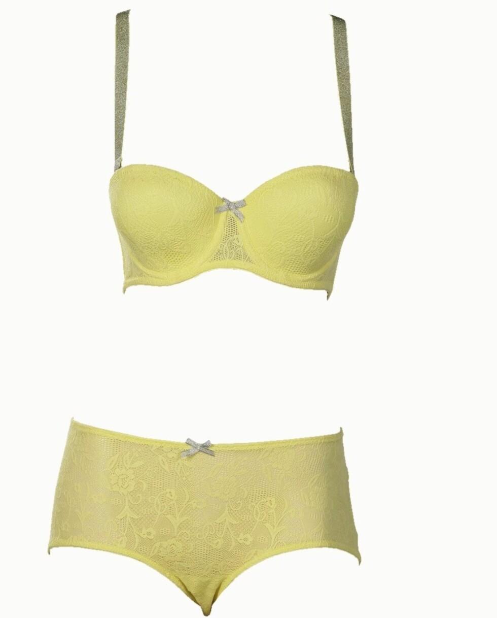 FORFRISKENDE: Søtt sett i gult som løfter bysten og holder magen inne (bh kr 200 og truse kr 70, Lindex).