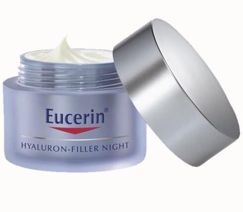 Eucerin Hyaluron Filler Night er en nattkrem som skal øke produksjonen av hylauronsyre i huden, fylle ut rynker innenfra og gjøre huden fastere og glattere (kr 270).