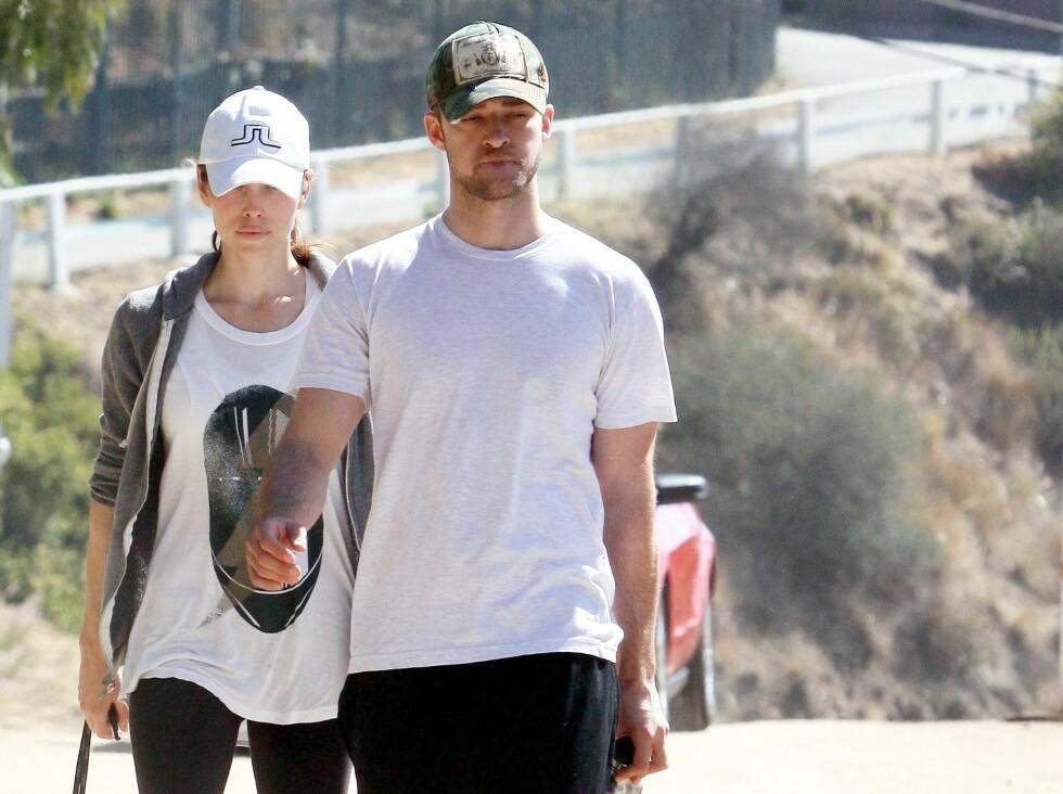 Skuespiller - og artisparet Jessica Biel og Justin Timerlake, som har datet siden januar 2007, er flitiige turgåere.  Foto: All Over Press