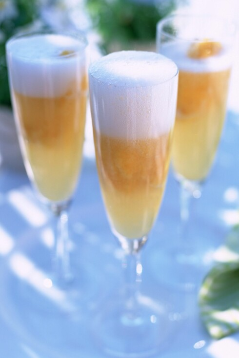 Bellini1,5 cl ferskenjuice5 cl champagne eller musserende vinHell først i juicen og følg på med musserende vin. Kan pyntes med en liten ferskenbåt.