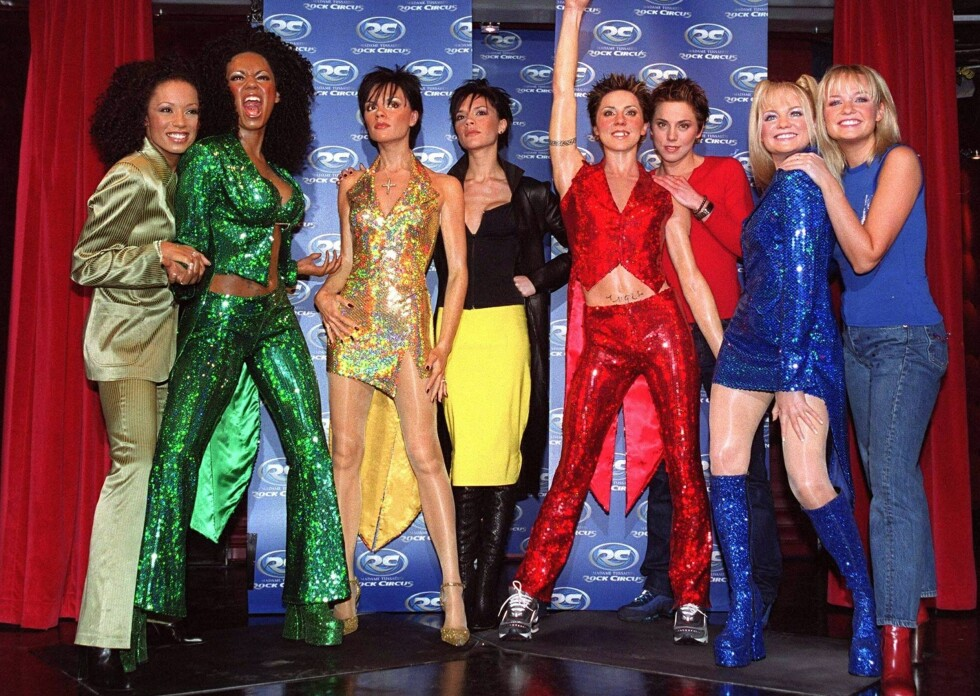 Spice Girls og deres look alikes på Rock Circus i London.