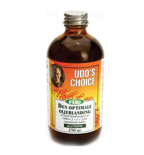 Udo's choice består av ni vegetabilske spesialoljer og anbefales av terapeuter og toppidrettsfolk. Den inneholder omega-3, -6 og -9, er rik på antioksidanter fra økologiske frø og kimer. God for hjerne, hjerte og ledd (kr 90/250 ml, Baker Hansen).