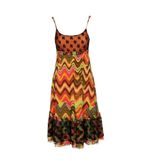Kjole med psykedelisk mønster (kr 2800, Come as you are).